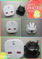 uk 3 flat pin to eu adapter with shutter