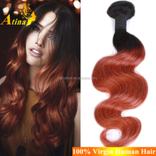 New Fashion Cheap 100% Unprocessed Ombre Hair Weaves Peruvian Body Wave Two Tone Colored Hair Extensions