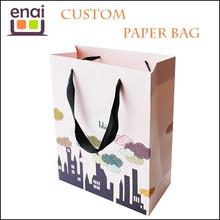 Custom gift paper shopping bag printing with ribbon handles