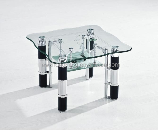 Angle Double Deck Glass Rotating Glass Coffee Table