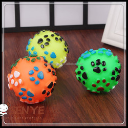 China Factory Supply Pet Cat/Dog rubber ball with footprint toy