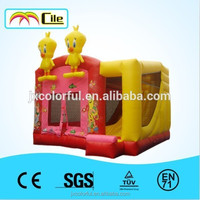 CILE Inflatable Yellow Duck Closed Bouncy Castle Moonwalk with Slide for Kids