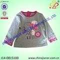 Venta caliente 100% de algodón de manga larga camisa t para la niña camiseta