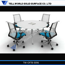 Modern and beauty with electric socket executive round small meeting table