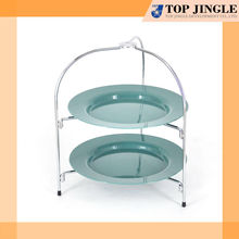 2 tier cocina marco de alambre verde portable plástico redondo bandeja para servir