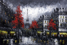 Handmade high quality new painted low price knife paris street painting for gallery art knife painting