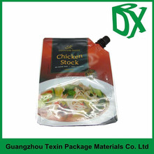 metallised reusable food spout pouch for chicken stock packaging bag