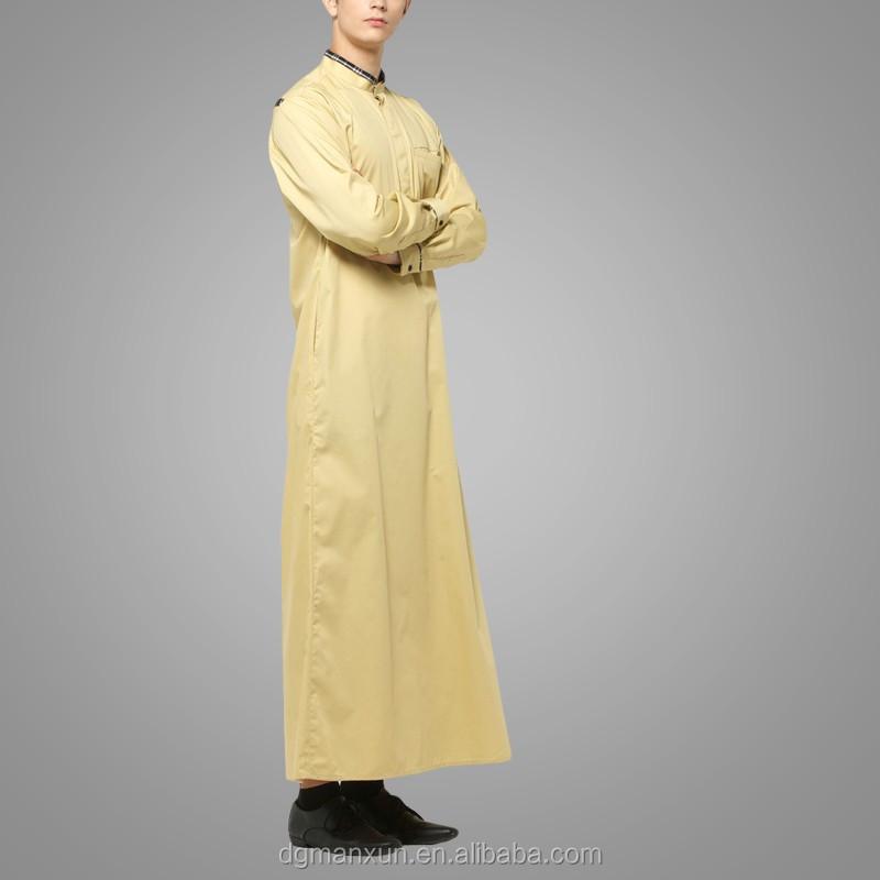 Mens Thobe Islamic Clothing with  X Series Light Gold Men Abaya (4).jpg