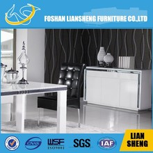Luxury Super White High Glass Top and White High Gloss BUFFET with black glass bars