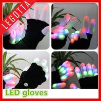Novel design knitted winter gloves sparkle led lighting muliticolor laser gloves