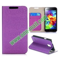 Wood Grain Pattern Wallet Flip Magnetic Leather Case for Samsung Galaxy S5 Mini G800 with Card Slots