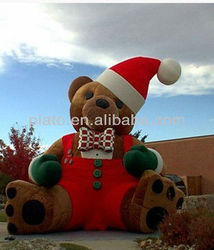 Advertising Giant Inflatable Santa Bear / Inflatable Cartoon Display