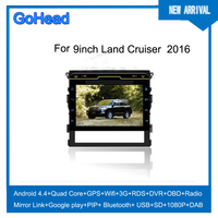 For 2016 Toyota Landcruiser DVD GPS MP5 Radio 9inch 10.2inch 3g Wifi GPS FM USB Bluetooth Android 4.4 Car GPS Navigation