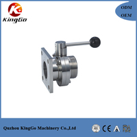 high quality sanitary stainless steel square flange/threaded butterfly valve