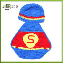 Hademade Children Beanie Hat Newborn Baby Crochet supermen outfit Photography Set