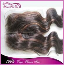 "Top Selling 3.5*4"" highlight #1b/4 body wave human hair peruvian virgin two tone lace closure"