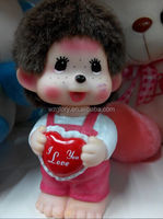 Lovely Plastic PVC Monchhichi Classic Pink Girl Doll,Monchhichi Action Figure