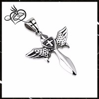 Stainless Steel Winged Celestial Healing Sword with Centered Cross Shield Pendant with Cross Design on Clasp