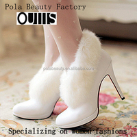 2016 factory custom fancy ladies winter white boots CP6695