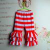 Baby girl red and white big stripes capri ruffle pants toddler ruffle leggings kids ruffle bottoms
