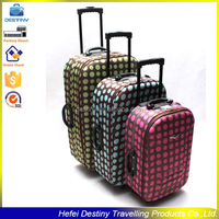 Polka-dotted unique external trolley extensible printed travel eva trolley case
