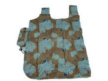 printing flowers foldable shopping bag / folding bag with Snap Pouch / promotional shopping bag
