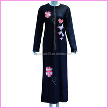high qulity front zipper printed picture women abaya 2015 factory OEM lady abaya
