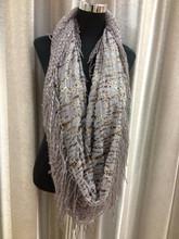 Fashion ladies grey tube scarf with golden stripes