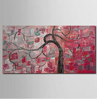 flower hand knife painting floral tree oil painting abstract wall decor modern canvas art