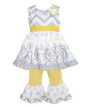 yellow and white watered boutique outfits for baby girls garments clothing sets