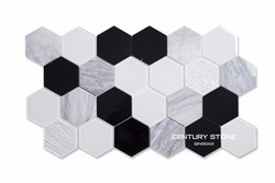 hot sales century 4inch featured hexagon marble tile mix glass mosaic kitchen bathroom wall tile