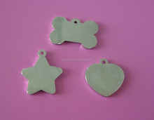 high hand polished zinc alloy silver blank dog cat name tags