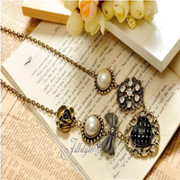 2015new Jewel Fashion Sweet Love Heart Fabric Bowknot Rose Pearl Ball Lace Pendant Women Dress Alloy hot sell Necklace