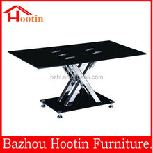 Hot sale X SHAPE TOP tempered glass coffee table WITH stainless legs