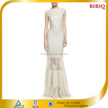 Sleeveless Ribbed Knit and Lace Gown Evening Dress China 2015