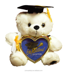 Plush Graduation Teddy Bear with Cap and Diploma in Hand! Comes with a Heart Shaped Picture Frame