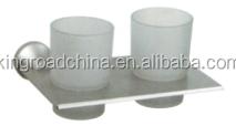 Aluminum Bathroom accessory 93068 Double Tumbler Holder With Glass