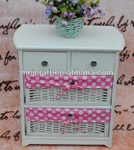 white color elegant wood cabinet wicker basket drawers