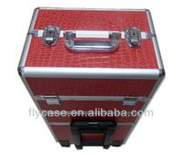 trolley pilot aluminum case/aluminum PU leather trolley case/aluminum makeup case luggage