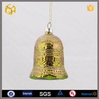 Hanging bell shaped glass christmas ornament