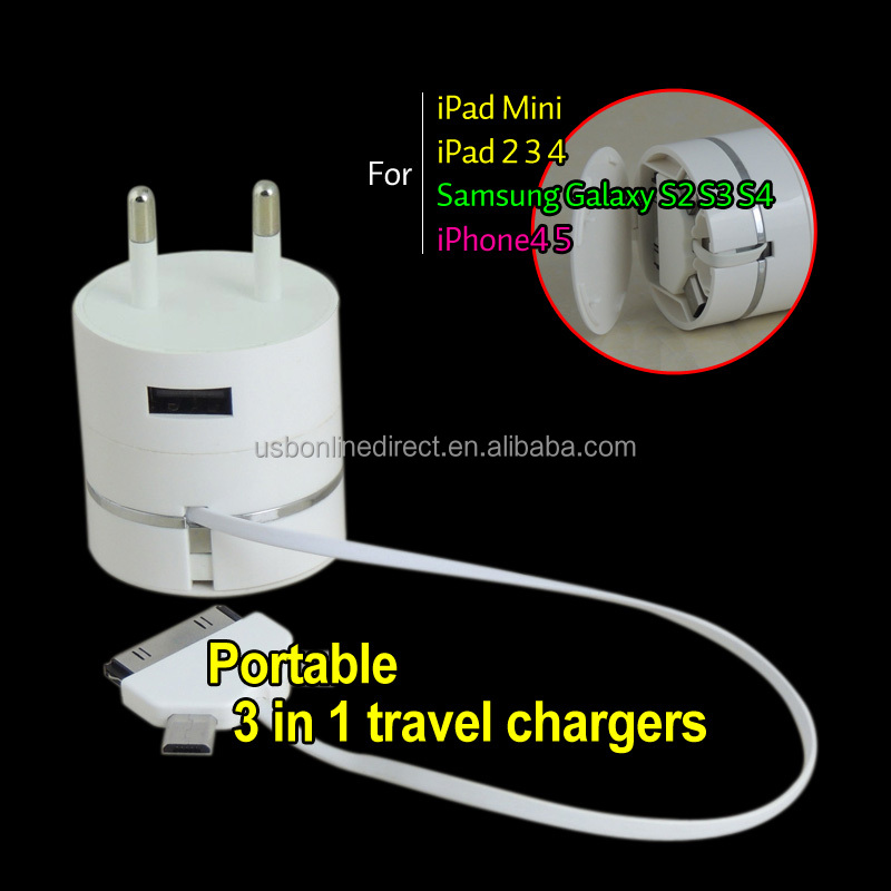 3 in 1 usb charger cable 10 in 1 portable multi usb phone charger cable usb car charger/usb home wall charger AC adapter 3in1