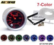 """AUTOFAB -Racing Sport Smoked Lens 2"""" 52mm Turbo Boost PSI Meter 7 Colors Display Analog Gauge AF-7C7707-2PSI"""