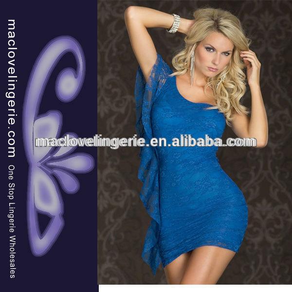 ml17695 de alta calidad de lujo de un hombro desgaste azul vestido corto de encaje simples