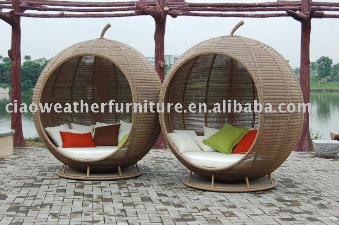 Big rattan round apple garden sofa bed furniture buy for Sofa rattan jardin