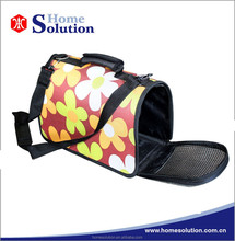2015 new high quality dog&cat cage health care pet carrier,flower printing with hanging belt