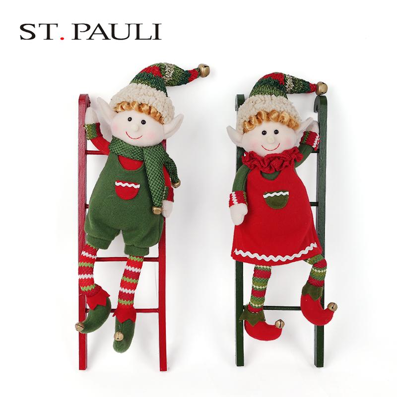 16 pollice singolo peluche ripiene elf giocattolo scaletta rampicante cristmas decorazione di natale in vendita