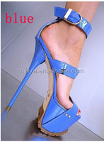 Thick Platform Women Gladiator Roman Style Sandal Shoes Ankle Buckle Stiletto Sexy Summer Sandal Patent Leather