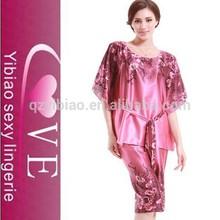 2015 venta al por mayor de china diseño noble madura sexy ropa de dormir ropa interior de satén