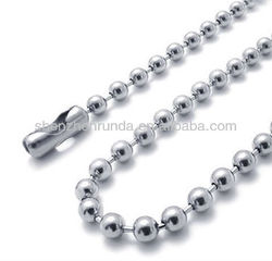 Wholesale Fashion Charm Cheap Men's Stainless Steel Dog Tag Ball Chain Necklace