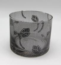 Factory price beautiful black flower print glass candle jar